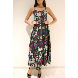 Maxi Backless Printed Slip Summer Dress - Green - S