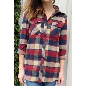 Fashioanble Shirt Collar Plaid Long Sleeve Shirt For Women - Dark Red - L