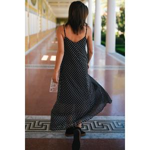 Bohemian Polka Dot Baggy Maxi Slip Dress - BLACK M