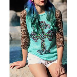 Stylish Leopard Print Scoop Neck 3/4 Sleeve T-Shirt For Women - Colormix - Xl