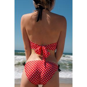 Vintage Halterneck Polka Dot Print Lace Up One Piece Women's Swimsuit -