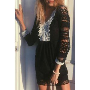 Sexy V-Neck Color Spliced Long Sleeve Lace Dress For Women - Black - Xl