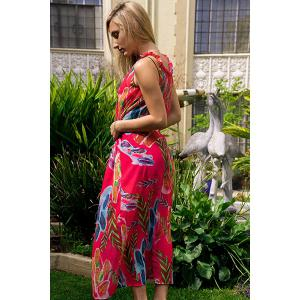 Colorful Floral Printed Sleeveless Chiffon Maxi Tropical Dress -