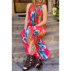 Colorful Floral Printed Sleeveless Chiffon Maxi Tropical Dress
