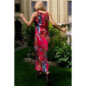 Colorful Floral Printed Sleeveless Chiffon Maxi Tropical Dress - ROSE M