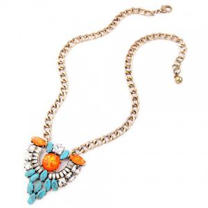 Graceful Faux Turquoise Hollow Out Necklace For Women -