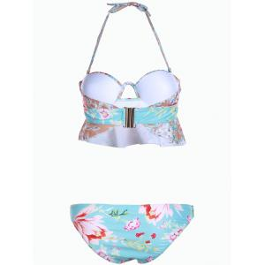 Sweet Strapless Floral Print Hollow Out Two-Piece Women's Swimsuit - TIFFANY BLUE S