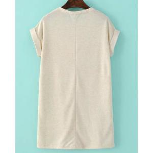 Casual Round Neck Short Sleeve Straight Loose-Fitting Women's Dress - OFF-WHITE S