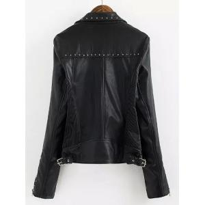 Chic Turn-Down Collar Black Riveted PU Leather Long Sleeve Jacket For Women - BLACK L