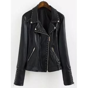 Chic Turn-Down Collar Black Riveted PU Leather Long Sleeve Jacket For Women - Black - L