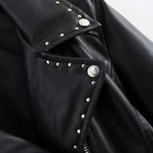 Chic Turn-Down Collar Black Riveted PU Leather Long Sleeve Jacket For Women -