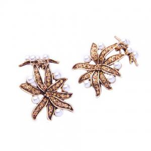 Pair of Vintage Faux Pearl Floral Leaf Earrings For Women