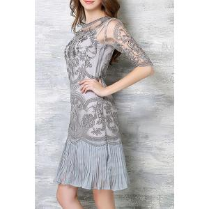 Chic Spaghetti Strap Solid Color Tank Top + 3/4 Sleeve Embroidered Pleated Dress Women's Twinset - LIGHT GRAY 2XL