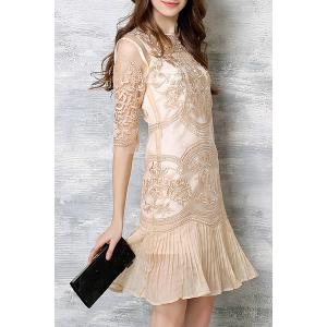 Chic Spaghetti Strap Solid Color Tank Top + 3/4 Sleeve Embroidered Pleated Dress Women's Twinset - APRICOT 2XL