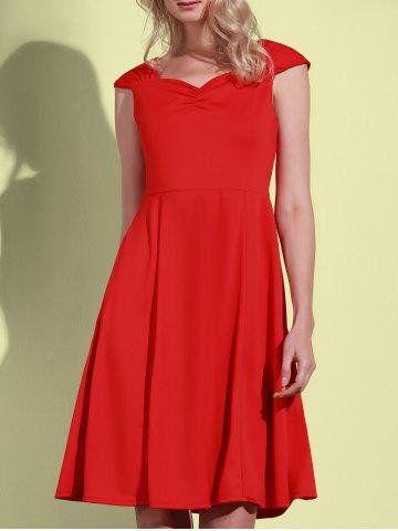 Unique Retro Sweetheart Neck Solid Color Sleeveless Dress For Women RED L