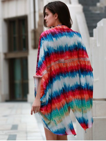 Cheap Colorful Beach Kimono Cover Up - ONE SIZE(FIT SIZE XS TO M) COLORMIX Mobile