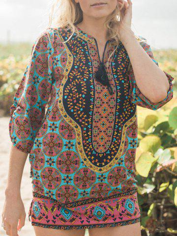 Hot Ethnic Style V-Neck Full Print 3/4 Sleeve Dress For Women COLORMIX M