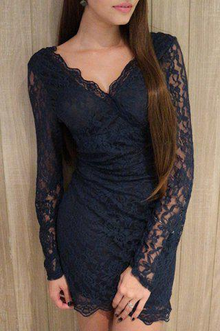 Affordable Plunge Long Sleeve Lace Mini Bodycon Dress BLUE S