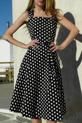 Hot Vintage Turn-Down Collar Sleeveless Polka Dot Bowknot Embellished Women's Dress