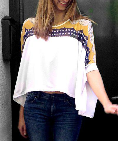 Stylish Round Collar Bat-Wing Sleeve Print Color Block Irregular Hem Women's T-shirt - White - One Size