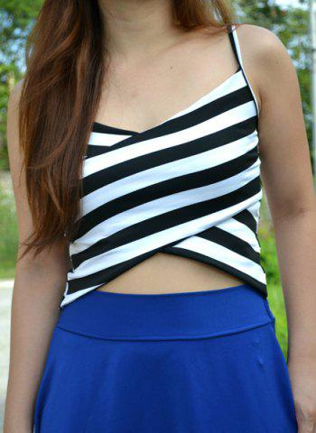 Chic Sexy Spaghetti Strap Sleeveless Striped Low Cut Women's Crop Top WHITE AND BLACK ONE SIZE