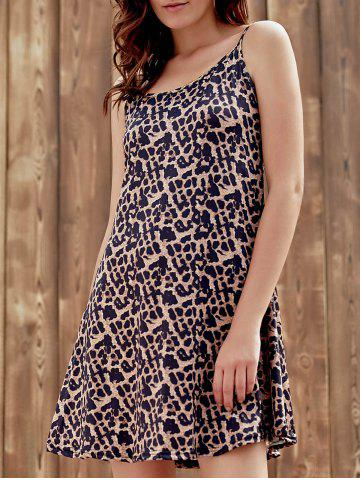 Outfits Stylish Spaghetti Strap Leopard Print Sundress For Women LEOPARD S