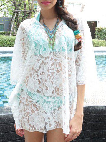 New Sheer Lace Swing Tunic Beach Cover Up - ONE SIZE(FIT SIZE XS TO M) WHITE Mobile