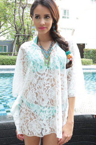 Store Sheer Lace Swing Tunic Beach Cover Up - ONE SIZE(FIT SIZE XS TO M) WHITE Mobile