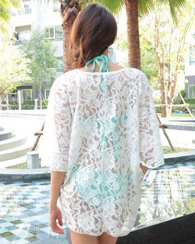 Fashion Sheer Lace Swing Tunic Beach Cover Up - ONE SIZE(FIT SIZE XS TO M) WHITE Mobile