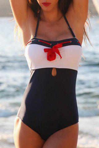 Fashion Stylish Halter Lace-Up Bowknot Embellished One-Piece Women's Swimwear