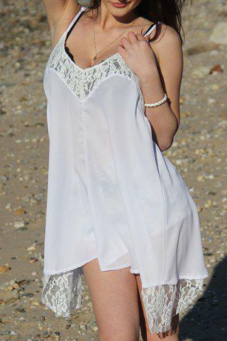 Cheap Spaghetti Strap Asymmetrical Backless Summer Dress - S WHITE Mobile