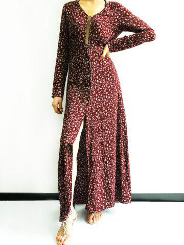Latest Plunging Neck Front Slit Printed Maxi Dress CLARET S