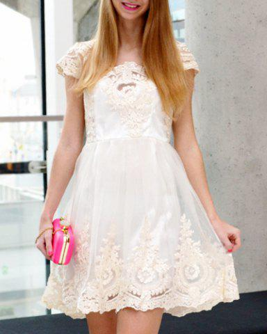 Chic Vintage Square Neck High Waist Lace and Gauze Spliced Ball Gown Dress For Women OFF-WHITE S