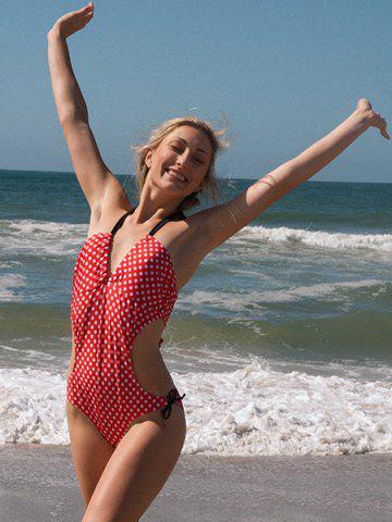New Vintage Halterneck Polka Dot Print Lace Up One Piece Women's Swimsuit - XL RED Mobile
