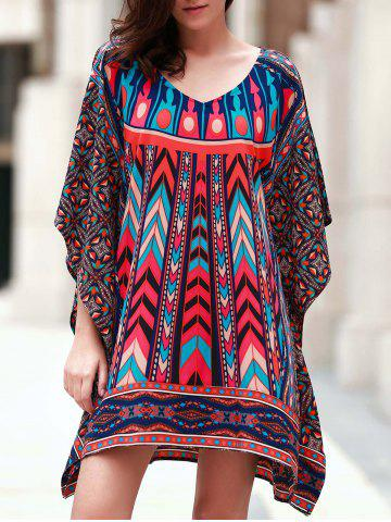 Hot Vintage V Neck 3/4 Batwing Sleeve Printed Women's Dress