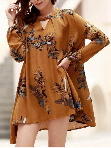 Discount Long Sleeve Floral Asymmetrical Tunic Flowy Dress GINGER M