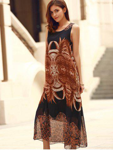 Affordable Bohemian Sleeveless Horns Print Flowy Dress - ONE SIZE(FIT SIZE XS TO M) PURPLISH BLUE Mobile