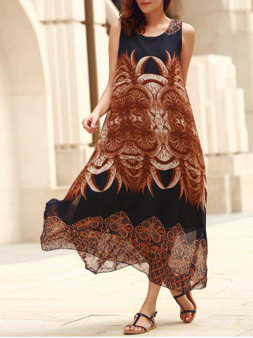 Discount Bohemian Sleeveless Horns Print Flowy Dress - ONE SIZE(FIT SIZE XS TO M) PURPLISH BLUE Mobile