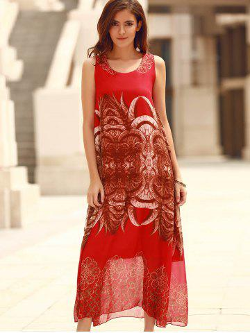Online Bohemian Sleeveless Horns Print Flowy Dress - ONE SIZE(FIT SIZE XS TO M) RED Mobile
