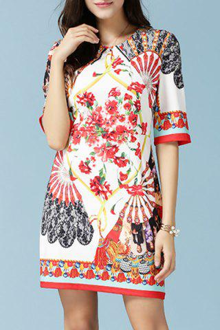 Shops Retero Half Sleeve Round Neck Printed Women's Dress WHITE L