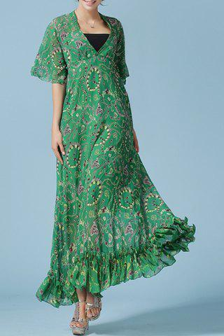 Shops Women's Stylish V-Neck Bell Neck Floral Print Dress GREEN S