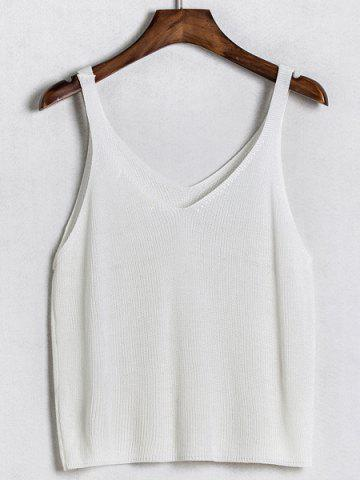 V Neck Solid Color Knitted Tank Top 175781601