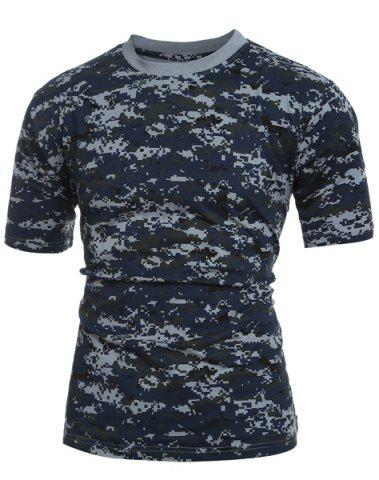 Buy Men's Slim Fit Short Sleeves Camo Round Collar T-Shirt