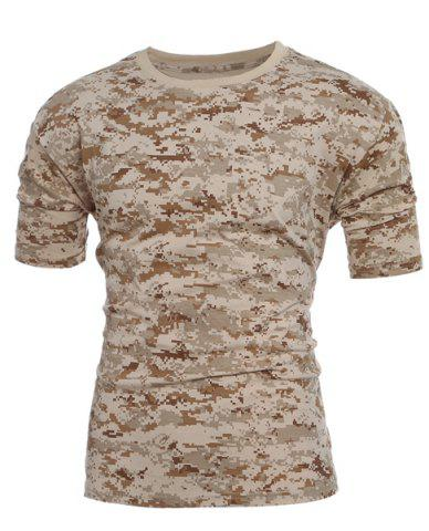 Affordable Men's Slim Fit Camo Short Sleeves Round Collar T-Shirt