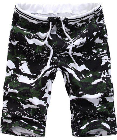 Cheap Vogue Straight Leg Camo Print Lace-Up Shorts For Men