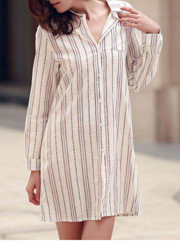 Best Stylish Long Sleeve Vertical Striped Shirt Dress For Women