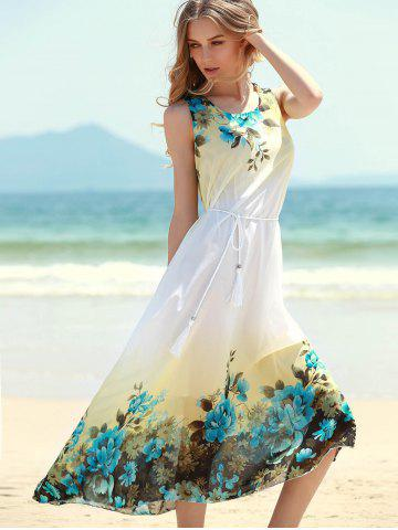 Outfit Floral Shift Midi Chiffon Dress - ONE SIZE BLUE Mobile
