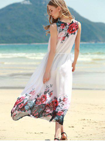 Affordable Floral Shift Midi Chiffon Dress - ONE SIZE RED Mobile