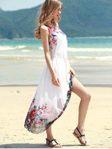 Latest Floral Shift Midi Chiffon Dress - ONE SIZE RED Mobile