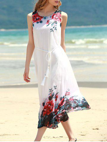 Outfit Floral Shift Midi Chiffon Dress - ONE SIZE RED Mobile